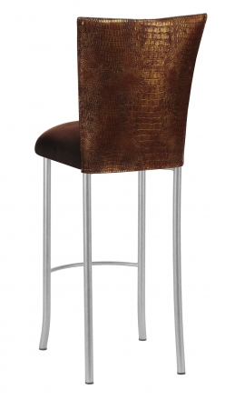 Bronze Croc Barstool Cover with Chocolate Suede Cushion on Silver Legs (1)