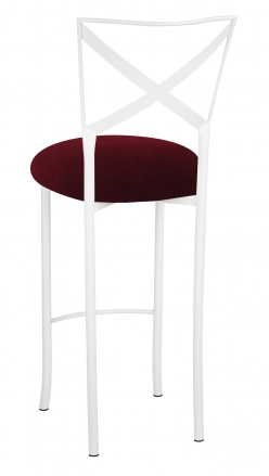 Simply X White Barstool with Cranberry Velvet Cushion (1)