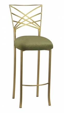 Gold Fanfare Barstool with Olive Velvet Cushion (2)