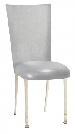 Metallic Silver Stretch Knit Chair Cover and Cushion on Ivory Legs (2)