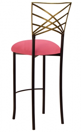 Two Tone Gold Fanfare Barstool with Raspberry Suede Cushion (1)