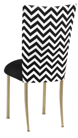 Chevron Chair Cover With Black Stretch Knit Cushion On Gold Legs (1) ...