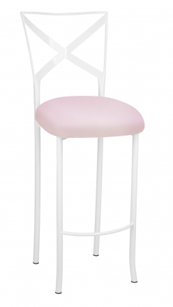 Simply X White Barstool with Soft Pink Stretch Knit Cushion (2)