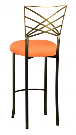 Two Tone Fanfare Barstool with Tangerine Stretch Knit Cushion (1)