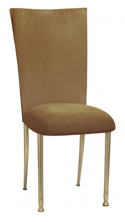 Camel Suede Chair Cover and Cushion on Gold Legs (2)