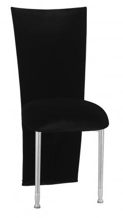 Black Velvet Zig Zag Black Lace Jacket with Black Stretch Knit Cushion on Silver Legs (2)