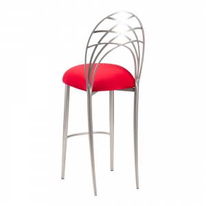 Silver Piazza Barstool with Red Stretch Knit Cushion (1)