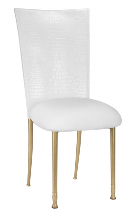 White Croc Chair Cover with White Stretch Knit Cushion on Gold Legs (2)
