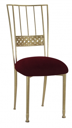 Gold Bella Braid with Cranberry Velvet Cushion (2)