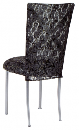 Silver X with Black Lace Chair Cover and Black Lace over Black Stretch Knit Cushion (1)