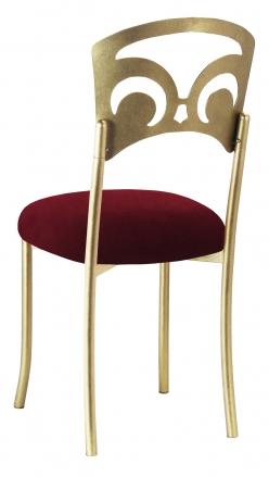 Gold Fleur de Lis with Cranberry Velvet Cushion (1)