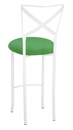 Simply X White Barstool with Kelly Green Stretch Knit Cushion (1)