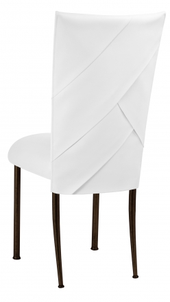 White Tiered Leatherette Chair Cover and Cushion on Brown Legs (1)