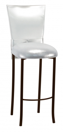 Silver Patent Barstool 3/4 Chair Cover with Rhinestone Accent Belt and Metallic Silver Stretch Knit Cushion on Brown Legs (2)