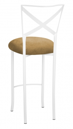 Simply X White Barstool with Camel Suede Cushion (1)