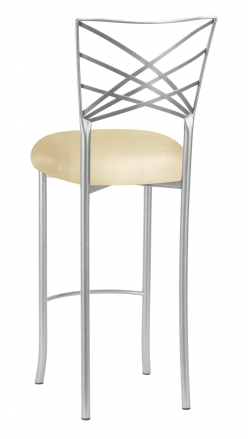Silver Fanfare Barstool with Champagne Metallic Knit Cushion (1)