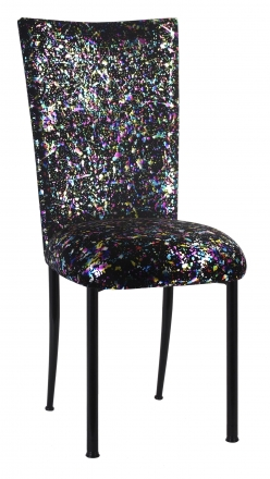Black Paint Splatter Chair Cover and Cushion on Black Legs (2)