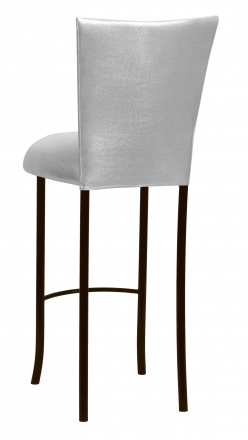 Metallic Silver Stretch Knit Barstool Cover and Cushion on Brown Legs (1)