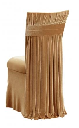 Gold Velvet Empire Chair Cover, Gold Velvet Cushion and Gold Velvet Skirt (1)