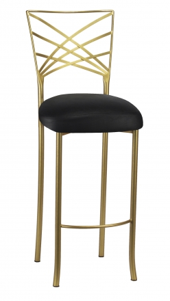 Gold Fanfare Barstool with Black Leatherette Boxed Cushion (2)