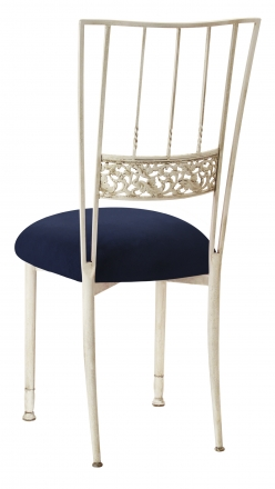 Ivory Bella Fleur with Navy Suede Cushion (1)