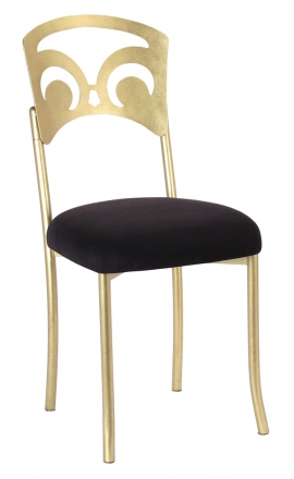 Gold Fleur de Lis with Black Suede Cushion (2)