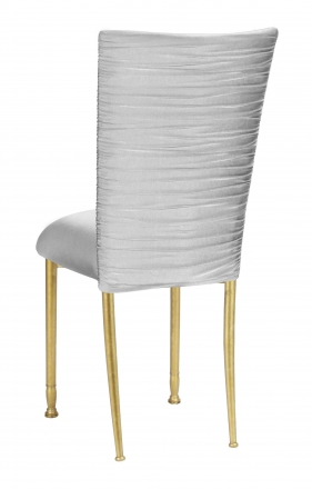 Chloe Silver Stretch Knit Chair Cover and Cushion on Gold legs (1)