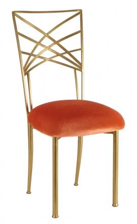 Gold Fanfare with Paprika Velvet Cushion (2)