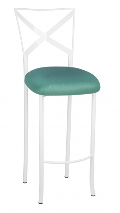 Simply X White Barstool with Turquoise Velvet Cushion (2)