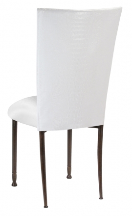 White Croc Chair Cover with White Stretch Knit Cushion on Mahogany Legs (1)