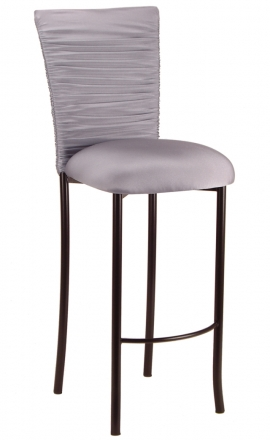 Chloe Silver Stretch Knit Barstool Cover and Cushion on Brown Legs (2)