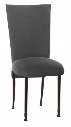 Charcoal Linette Chair Cover and Cushion on Mahogany Legs (2)