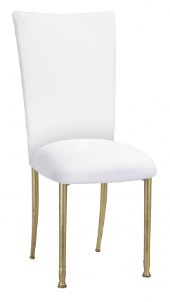 White Suede Chair Cover and Cushion on Gold Legs (2)
