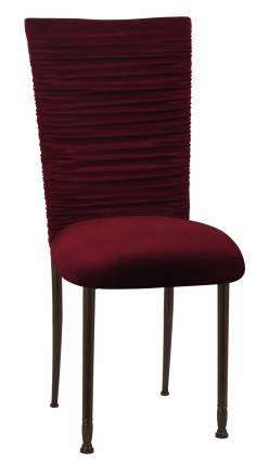 Chloe Cranberry Velvet Chair Cover and Cushion on Mahogany Legs (2)