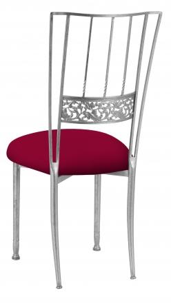 Silver Bella Fleur with Cranberry Stretch Knit Cushion (1)