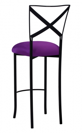 Blak. Barstool with Plum Stretch Knit Cushion (1)
