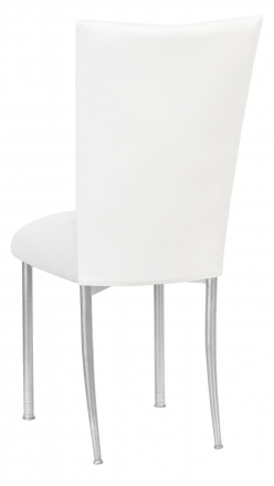 White Leatherette Chair Cover and Cushion on Silver Legs (1)