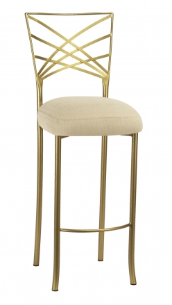 Gold Fanfare Barstool with Parchment Linette Boxed Cushion (2)