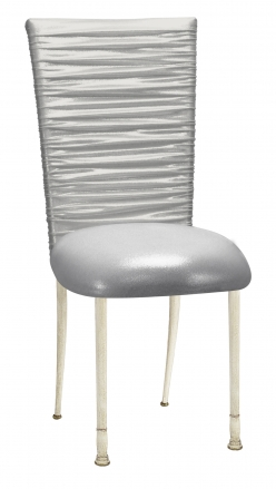 Chloe Metallic Silver on White Foil Chair Cover and Cushion on Ivory Legs (2)