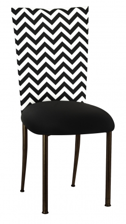 Chevron Chair Cover with Black Stretch Knit Cushion on Brown Legs (2)