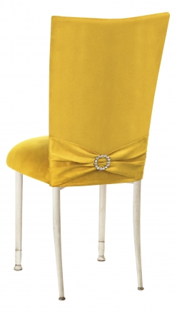 Canary Suede Chair Cover with Jewel Belt and Cushion on Ivory Legs (1)
