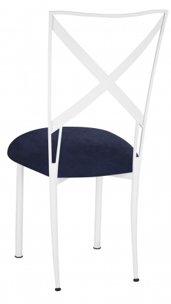 Simply X White with Navy Blue Suede Cushion (1)