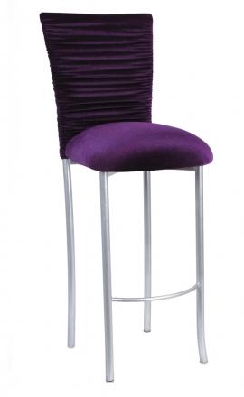 Chloe Eggplant Velvet Chair Cover and Cushion on Silver Legs (2)