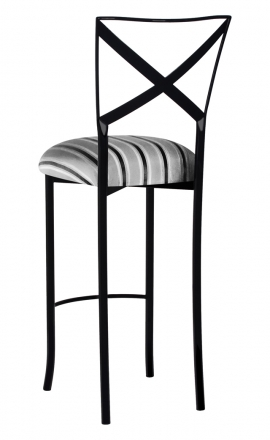 Blak. Barstool with Charcoal Stripe Cushion (1)