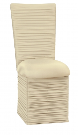 Chloe Ivory Stretch Knit Chair Cover with Rhinestone Accent Band, Cushion and Skirt (2)