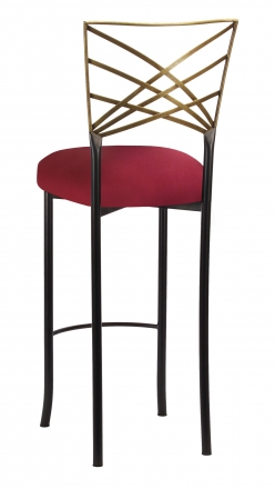 Two Tone Gold Fanfare Barstool with Cranberry Stretch Knit Cushion (1)