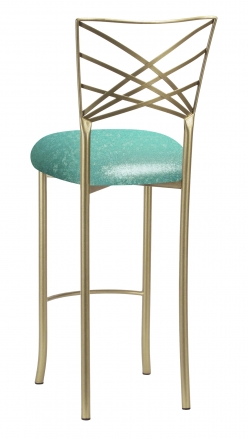 Gold Fanfare Barstool with Mermaid Knit Cushion (1)
