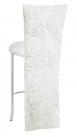 White Wedding Lace Barstool Jacket with White Knit Cushion on Silver Legs (1)