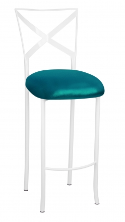 Simply X White Barstool with Metallic Teal Stretch Knit Cushion (2)
