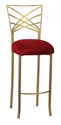 Gold Fanfare Barstool with Burnt Red Dupioni Boxed Cushion (2)